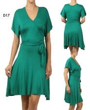 D17 Womens Green Size 22/24 Short Sleeves Wrap V Belted Office Casual Dress Plus