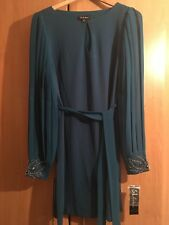 BNWT Gorgeous Teal Dress w/Jewelled Cuff Sleeves Sz 10/12