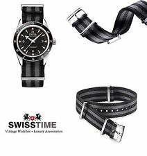 21mm Official Omega Polyamide NATO ® Strap Black Grey Bond Spectre