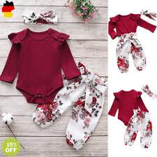Neugeborenes Baby Mädchen Kleidung Blumen Strampler Tops Hosen Outfits 3Pcs Sets