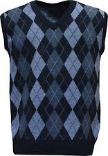Mens V Neck Argyle Sleeveless Sweater Jumper Tank Top Jersey Golf Casual M - XXL Black L