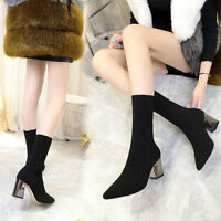 Women Elastic Sock Stretch Ankle Boots High Heels Autumn Chunky Fashion Shoes