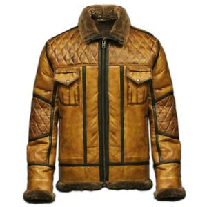 B10 BOMBER MENS PILOT REAL SHEARLING LEATHER JACKET WITH FUR