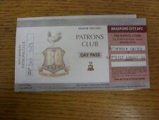 31/08/2002 Ticket: Bradford City v Rotherham United [Patrons Club Day Pass] (fol
