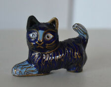 cloisonne Blue Miniature Cat Figure Kitten Kitty