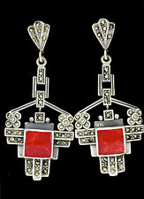 STUNNING ART DECO STYLE RED CORAL MARCASITE LONG EARRINGS 925 STERLING SILVER