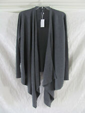 Eileen Fisher Bark Ribbed Wool Draped Angle Front Cardigan Top M B5