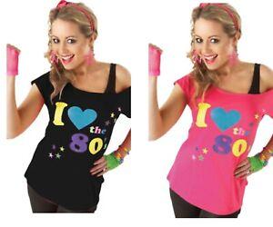 Ladies I Love The 80s T-Shirt Retro Fancy Dress Hen Party  Design T-Shirt Top