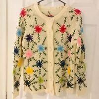 Vintage wild flower knit cardigan handmade sweater buttons cottagecore Medium