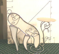 Reindeer, Stained Art Glass & Metal Candle Holder, Drinking Water, Collectible