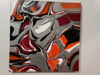 Abstract contemporary modern acrylic fluid art painting 14x 14 stretched canvas