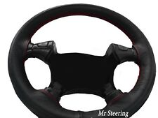 FOR FORD MUSTANG 4 BLACK REAL LEATHER STEERING WHEEL COVER RED STITCH 1994-2004