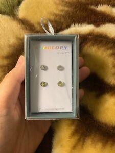 Sterling silver Swarovski Crystal Clear & Yellow Stud Earrings (brand New)