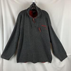 Fubu Mens 1/4 Zip Pullover Lg Gray Red Fleece Zip Chest Pocket Zipper Repair