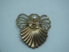 "Beautiful Brooch Pin Angel Gold Tone Faux Pearl 1 1/2"" Nice"