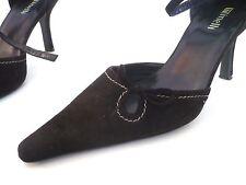 Escarpins ♥ MINELLI ♥  P 37 Pointure cuir daim noir chaussures ouverte à talon