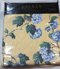 "Ralph Lauren Yellow Hydrangea Floral FULL/QUEEN Cotton Quilt 90""x90"" New"