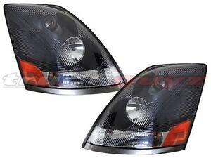 fit 04-12 Volvo VN VNL VNM Series 430 630 670 730 780 Head Light Black Housing