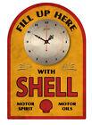 SHELL MOTOR OILS  VINTAGE  TIN SIGN CLOCK  Retro Style