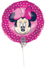 """DISNEY MINNIE MOUSE PARTY FOIL BALLOON ON STICK 22CM/9"""" AIR FILL GIRLS BIRTHDAY"""