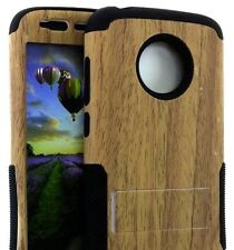 Motorola Moto E5 Play / E5 Cruise - Hybrid Kickstand Armor Case Cover Brown Wood