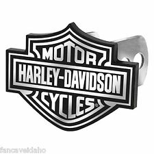 "Harley Davidson Logo 1 1/4"" - 2"" Black & White Metal Hitch Plug Receiver Cover"