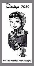 Vintage Mail Order Children's Knitted Helmet & Mittens Knitting pattern #7080