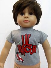"Lil Racer Grey T-Shirt Fits 18"" American Boy or Girl Doll Clothes"