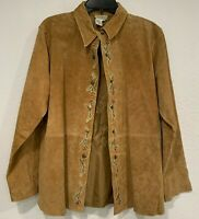 Coldwater Creek Tan Suede Leather Jacket Floral Embroidered Snap Up NWOT Size 1X