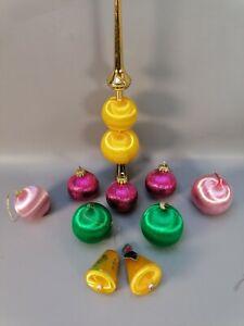 Vintage lot of spun silk baubles and tree topper christmas tree xmas 60s retro