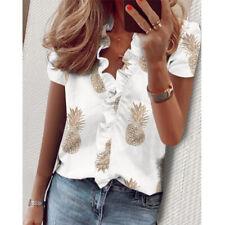 Women Summer Boho Short Sleeve Floral Print V Neck Blouse Casual Loose T Shirt