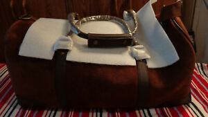 Large Brown Suede & Leather Overnight Duffel Travel Bag Marlboro 2003 NEW NWT