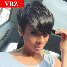 VRZ Pixie Cut Human Hair Wigs Brazilian Remy Hair Wig Side Bang Black Wigs