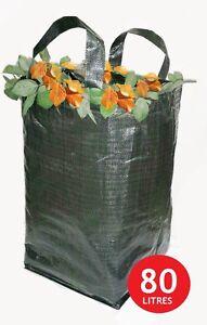 4 x Heavy Duty Green Woven Garden Waste Refuse Sack Bag 80 litres PP Woven