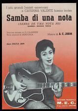 CATERINA VALENTE SPARTITO MUSICALE SHEET MUSIC SAMBA DI UNA NOTA
