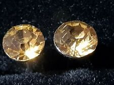 PUNK ROCK GOLD CITRINE  Coloured CZ Stainless Steel Earrings Studs 6.MM