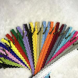12/16/20inch 3 hole lace closed zipper nylon multicolor sewing 10pcs(20colors)##