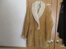 """Vintage"" Ladies CAMEL COLOR SUEDE+ WHITE SHEEPSKIN TRIM+LINING 3/4 JACKET"