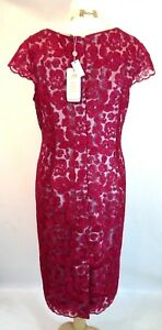 New Jacques vert dress 20 22 Corded Lace Red Neutral Cornelia floral cap rp £199