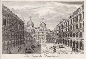 Venice Dogenpalast Courtyard Original Copperplate Strahlheim 1835
