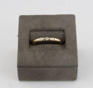 Designer 18k Rose Gold Three Diamond Band Ring Size 6.5