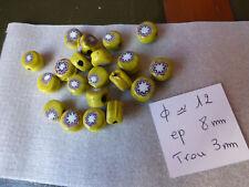 promo  lot de 20 ancienne perle en verre multicouche jaune perle de troc ???