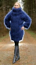 SUPERTANYA BLUE Hand Knit Mohair Sweater Fuzzy Thick Jumper 3 strands ON SALE