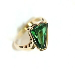 Vintage 10K YELLOW GOLD, Syn. EMERALD Womens Ring: Size 6, 3.5 Grams *Unique*