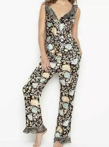 Victoria's Secret Satin Floral Sleepwear Top & Pant Set Pajama AfterHour MED NWT