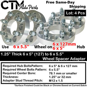 """4PC 1.25"""" THICK 6x5 to 6x5.5 WHEEL ADAPTER SPACER FIT CHEVY/GMC/SAAB/BUICK MODEL"""