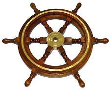 "Vintage Style 18"" Brass & Wood Ship Wheel Helm Nautical Bar Decor Steering Boat"