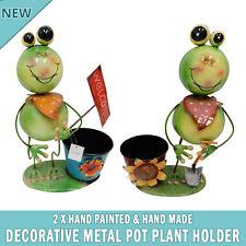 NEW 2x Frog Garden Pot Plant Metal Decor Statue Ornament Figurine Outdoor Indoor