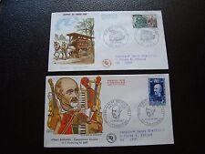 FRANCE - 2 enveloppes 1er jour 1969 (journee du timbre/albert roussel) (B8)