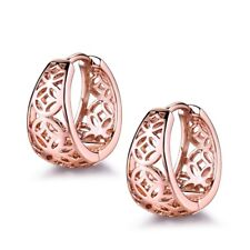 Women Classic Wedding Rose Gold Filled Stunning Hoop Hollow Hoop Stud Earring